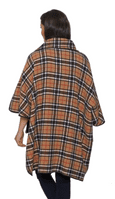 Womens Camel Reversible Check Wool Cape K1330